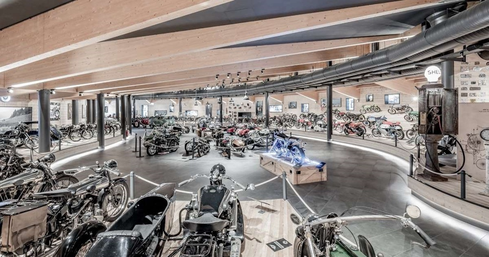 A motorcycle museum with all the exhibits burned down in Austria
